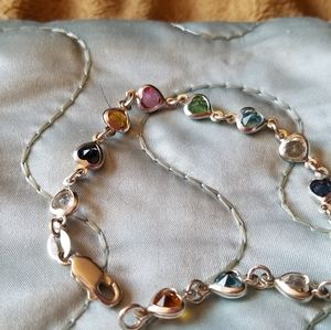 Silver .925 Heart Multi Color Stones Bracelet